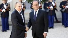 France. paris le 2015/10/02 Sommet format Normandie sur Ukraine au Palais de Elysee. Francois Hollande et Vladimir Poutine President de la Federation de Russie
