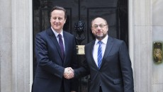 Visit of the President of the European Parliament to London. President of the European Parliament Martin SCHULZ   (R) is greeted by British Prime Minister David CAMERON   (L) outside Number 10 Downing Street in London