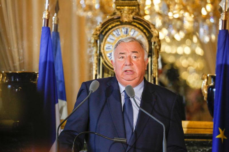 France. Paris le 2016/09/06 Gerard  Larcher President du Senat  conference de presse de rentree. Gerard Larcher en discours pendant sa confÈrence de presse