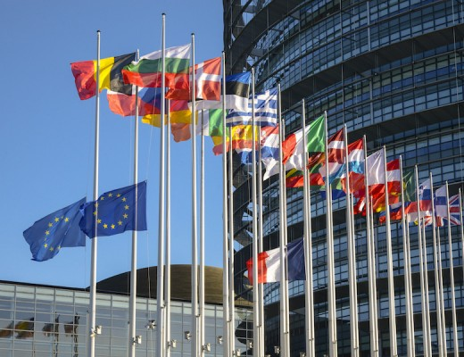European flag at half-mast at the European Parliament in Strasbourg following yesterday's attacks in Paris.