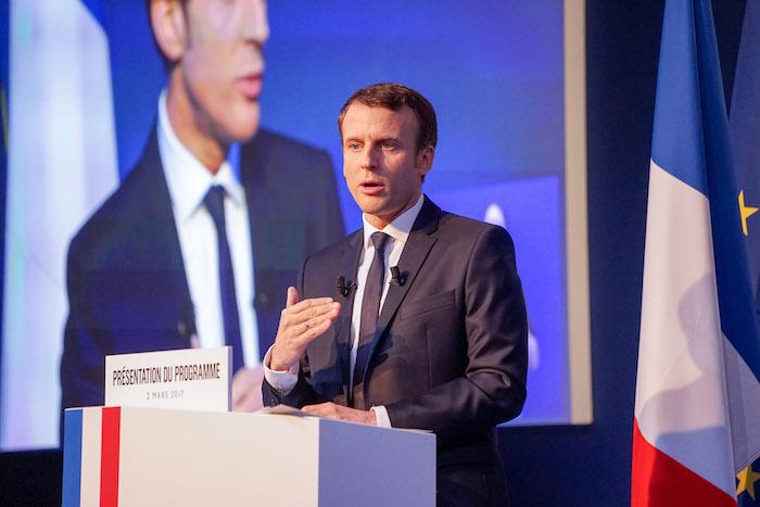 France.Paris Le 2017/03/01 Emmanuel Macron candidat a election presidentielle du Mouvement En Marche presente son programme politique et economique. Emmanuel Macron en discours