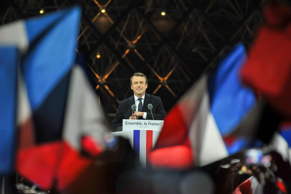 France. Vincennes  le 2017/05/07 Republique ambiance et discours a la Pyramide du Louvre a Paris. Emmanuel Macron President de la Republique en discours au Louvre