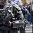 France. Paris le 2017/07/14Manifestation a appel du collectif Front Social contre la visite de Donald Trump a Paris.Gendarmes avec de équipements anti manifestation
