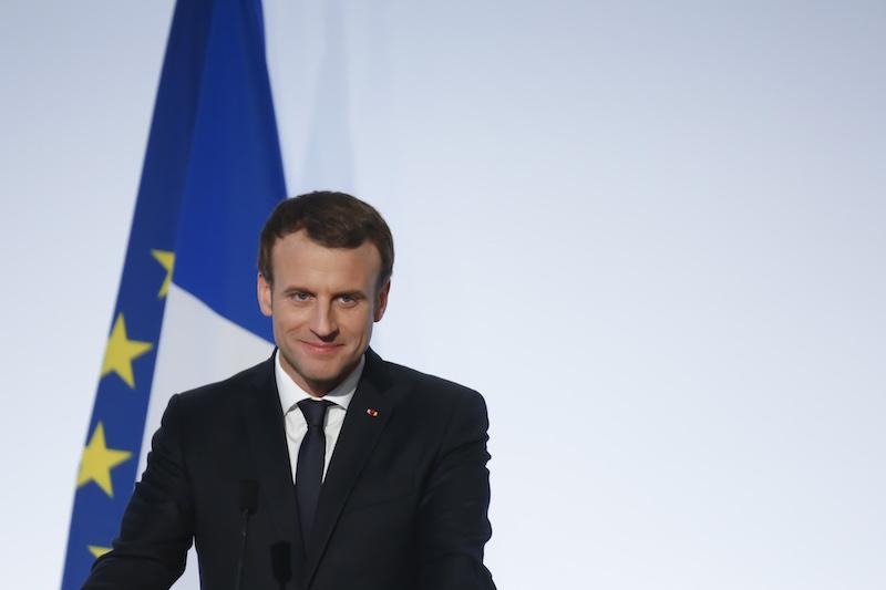 France. Paris le 2017/12/13 Conference de Presse finale du G5 Sahel au Chateau de la Celle Saint Cloud. Emmanuel Macron portrait souriant President de la Republique