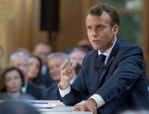 France.Paris 2019 / 04 / 25 Conference de Presse de Emmanuel Macron au Palais de Elysee. Emmanuel Macron en conférence de presse devant les journalistes