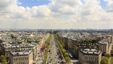 Panoramic view of the avenue des Champs Elys?es and parisian rooftops from the top of the Arc de Triomphe.